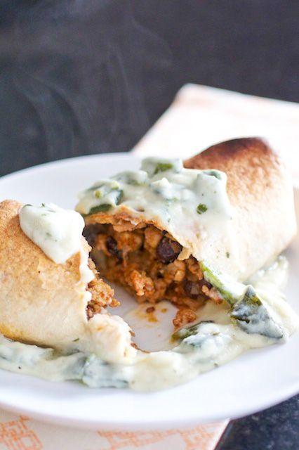 Baked Chicken Burritos w/ Sour Cream-Poblano Sauce