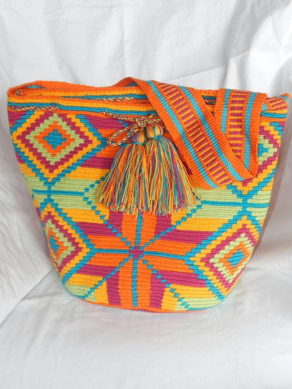 Colombian Wayuu Mochila Crossbody Bag/Handmade Bag /Orange Multicolor /Women's Bag/Travel Tote/Original 100 % Wayuu Knit/Durable Cotton /Veg