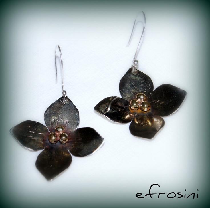 efrosini  Handmade metalwork earrings lotus