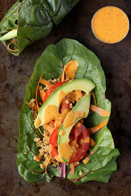 Swiss Chard Veggie and Walnut Meat Wraps. super crunchy, fresh and satisfying (raw, vegan).