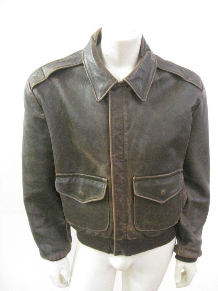 Vintage SCHOTT A-2 Bomber Leather Flight Jacket USA MADE SIZE 44 #SCHOTT #Military