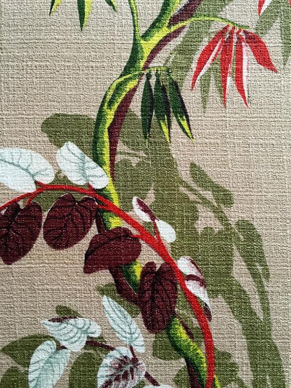 Stunning 1940s Woodland Foliage Barkcloth Fabric Cotton Yardage