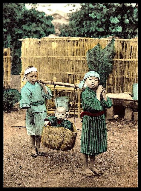 HAULING A BASKETFULL OF TROUBLE -- Trying to Have Fun While Babysittig in OLD JAPAN by Okinawa Soba, via Flickr