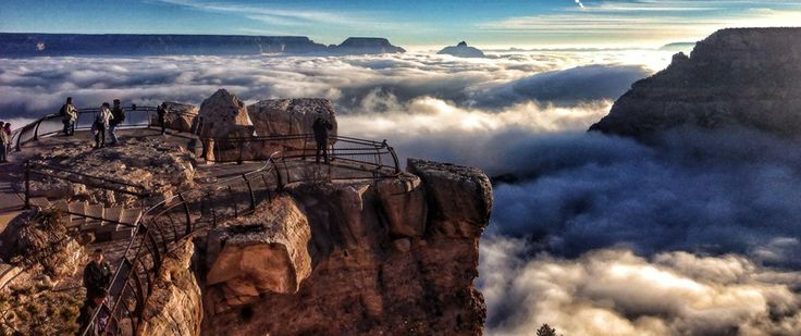 'Cloud waterfalls' cascade across the Grand Canyon.Better than rampant consumerism? As thousands across the country lined up for Black Friday madness, park rangers and tourists at the Grand Canyon lined up along Mather Point to witness a rare cloud inversion.