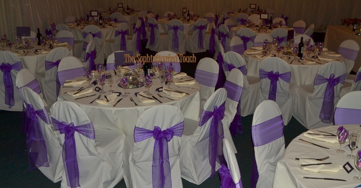 Cadburys Purple Organza Bows on Ivory Chair Covers. The Sophisticated Touch ...Chair Covers by Desogn