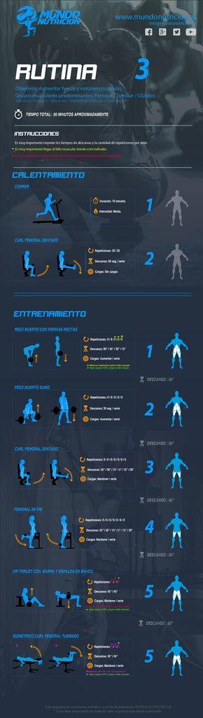 Rutina 3 Femorales Glúteos Lumbares - Mundo Nutrición. Nutrición deportiva y suplementos.  Programa de ejercicios para trabajar femorales, glúteos y lumbares. Este sistema combina ejercicios generales como el peso muerto y específicos como los curl de femoral para desarrollar la musculatura, fortalecerla y tonificarla.
