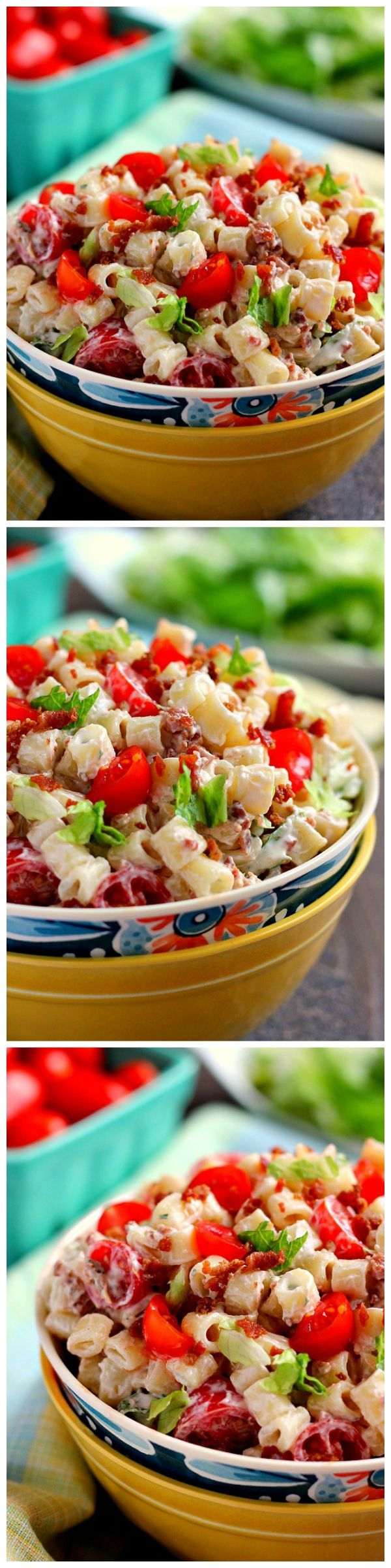 Filled with tender pasta, a creamy dressing and BLT fixings, your favorite sandwich gets a makeover in with this easy BLT Ranch Pasta Salad!