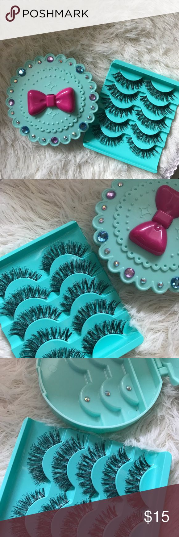 Mermaid eyelash case + 5WSP Lashes All brand new include ✨3 kinds of Wispy eyelashes  ✨Eyelash Case   +$2 Add on eyelash Applicator  +$3 Add on eyelash glue Please message me if you want to add them.    # tags Iconic, mink, red cherry eyelashes, house of lashes, doll, kawaii, case, full, natural,  Koko, Ardell, wispies, Demi , makeup,   Ship within 24 hours ❣️ Makeup False Eyelashes