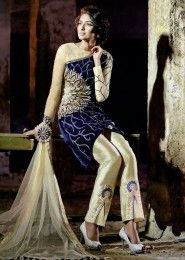 Party Wear Velvet Blue Antique Work Anarkali Suit