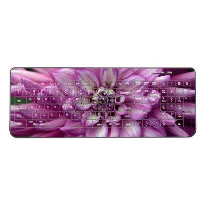 Purple dahlia flower wireless keyboard - spring gifts beautiful diy spring time new year