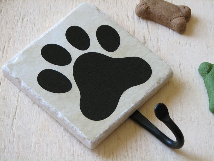 Dog Leash Hook, Cute Animal Paw Print, Pet Accessory Hook, Wall Key Holder, Black, Decorative Ceramic Tile by NaturesHeavenlyArt on Etsy https://www.etsy.com/listing/66821042/dog-leash-hook-cute-animal-paw-print-pet