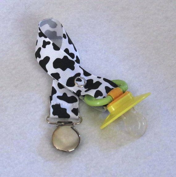 Girls/Boys Black and White Cow Print Pacifier by TootandPuddle, $3.50