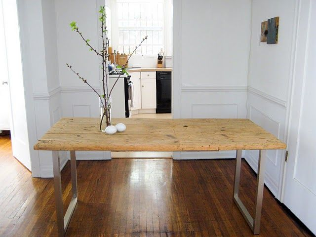 diy reclaimed wood with ikea legs - dining table