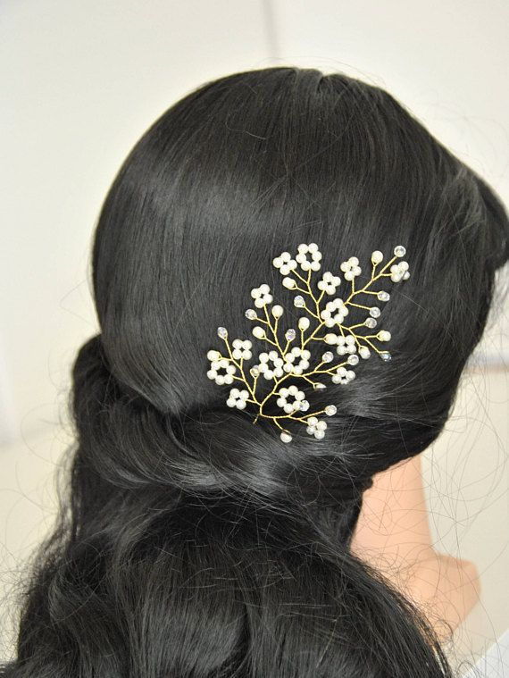 Tender bridal headpiece, simple and elegant wedding hair accessory. This wedding hair piece will underline the elegance of your wedding hairstyle. This stylish bridal hair brooch created with shiny crystal beads, ivory pearl beads and artistic wire. This exqiusite pearl bridal hair
