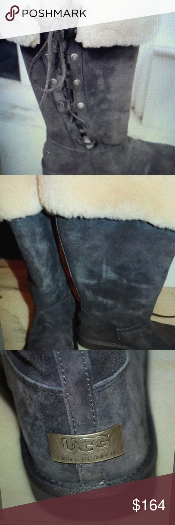 UGG Upside Classic Laceup Grey Suede Boots UGG Upside Classic Laceup Grey Suede Boots  EUR Size 36  Part of the Clasdic Line so they run a size large-scale up to a 6- 6.5  The boots lace up and the sheepskin folds over. .The boots are New in the box but the box was mailed to me with the tape directly on the box and is not in pristine condition. Still the name, size and code can be seen. UGG Shoes Winter & Rain Boots