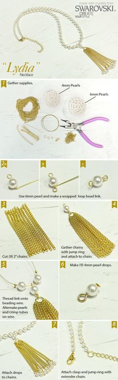 Create an elegant necklace combining Swarovski pearls and chain