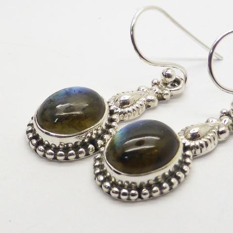 Labradorite  | Gemstone Cabochon Earrings | Sterling Silver | Ethnic Detail | Australian Supplier | weight 4.7 gm drop 35 mm