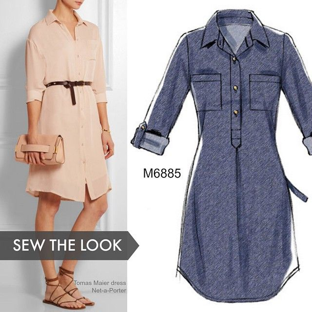 Shirtdresses don't have to be made out of cotton. Try McCall's M6885 in silk…