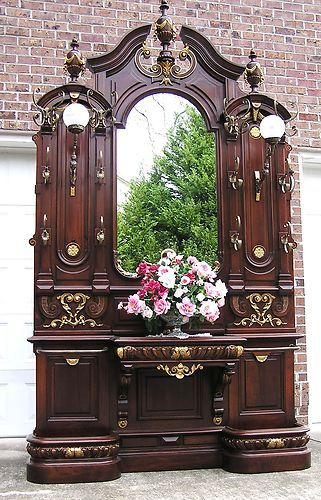 BREATHTAKING VICTORIAN WALNUT LIGHTED HALL TREE | eBay