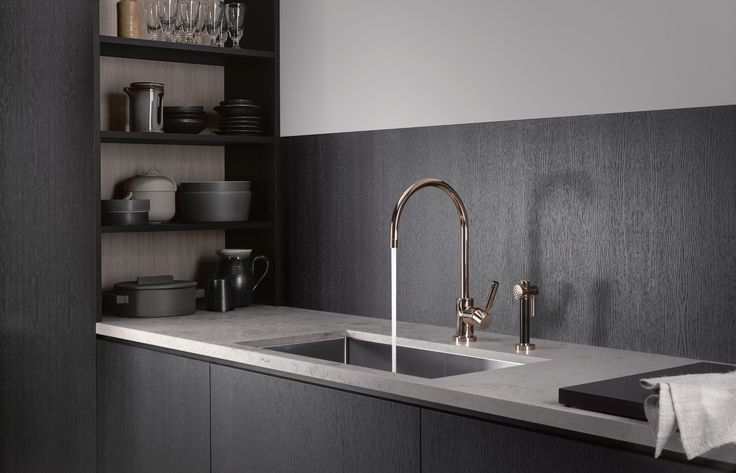 Dornbracht's modern kitchen faucet in graceful copper finish / Tara Classic Collection