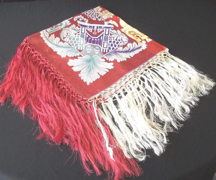 Nice Vintage Rose  White Purple Pink Piano Scarf / Shawl TAJ MAHAL Tablecloth
