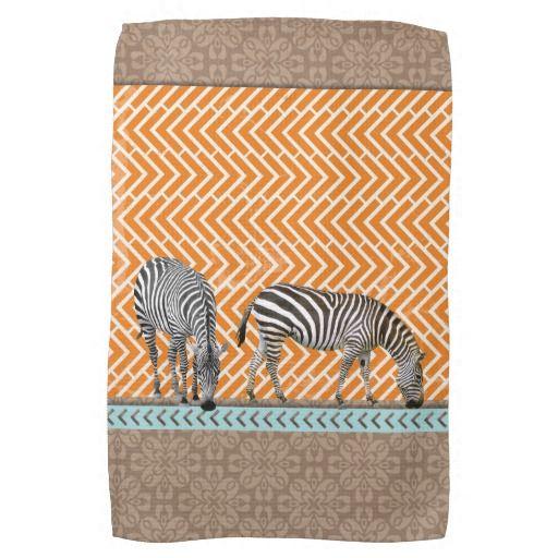 Zebra Tea Towels: African Zebra Orange Chevron Tea Kitchen Towel