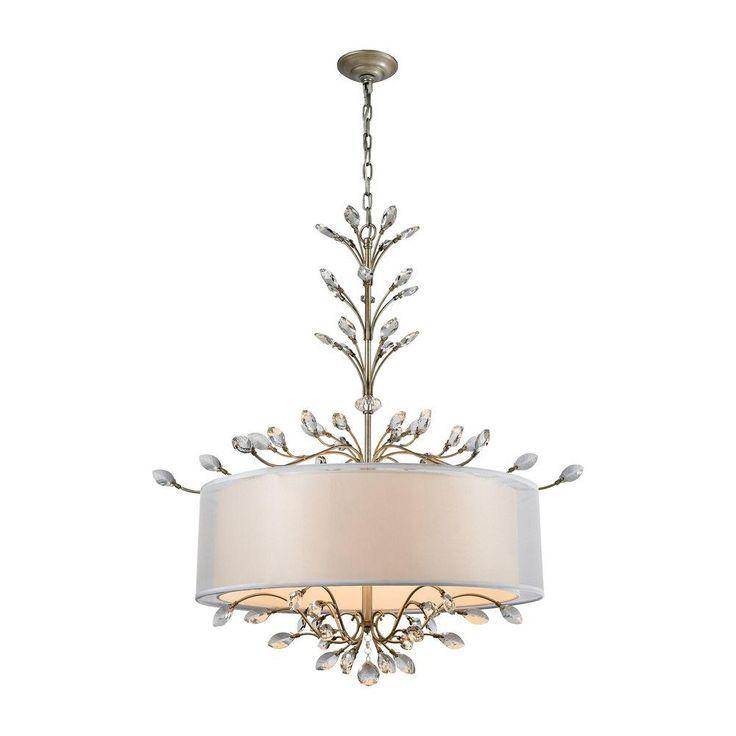 Titan Lighting Asbury 6-Light Aged Silver Chandelier With Silver Organza Shade-TN-75661