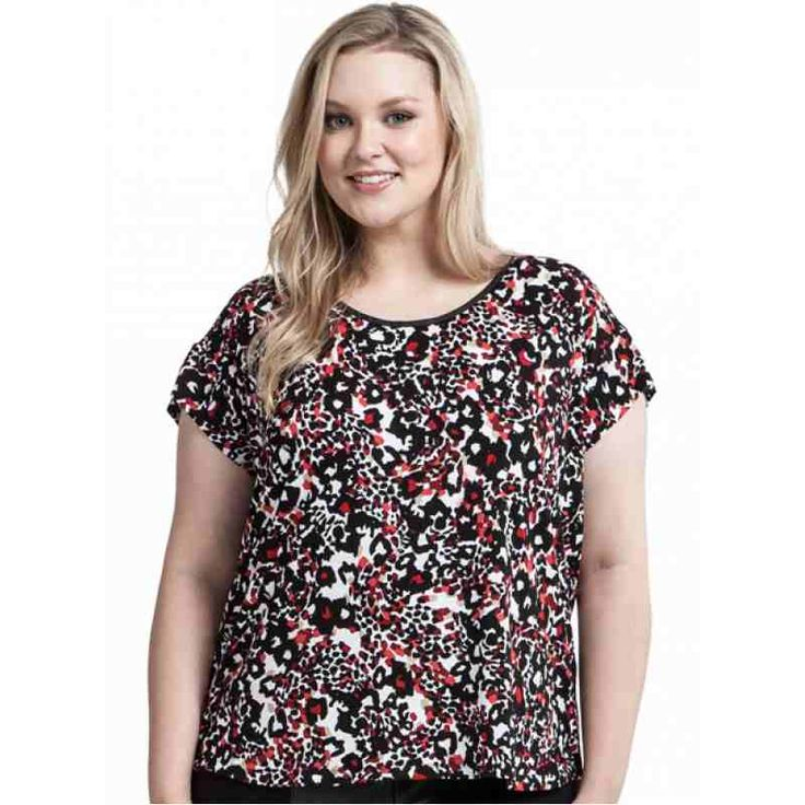 PRE-ORDER - PU neck printed tee with exposed back zip (RED ANIMAL PRINT) $59.95 http://www.curvyclothing.com.au/index.php?route=product/product&path=95_104&product_id=6802