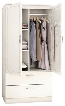 South Shore Acapella Transitional Style Wardrobe Armoire in Pure White - transitional - Dressers Chests And Bedroom Armoires - Cymax