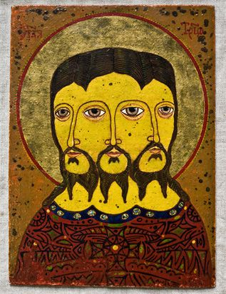 Icon: Portrait or image. In the Greek and Russian church, an image of a saint or sacred personage. Sometimes spelt ikon.