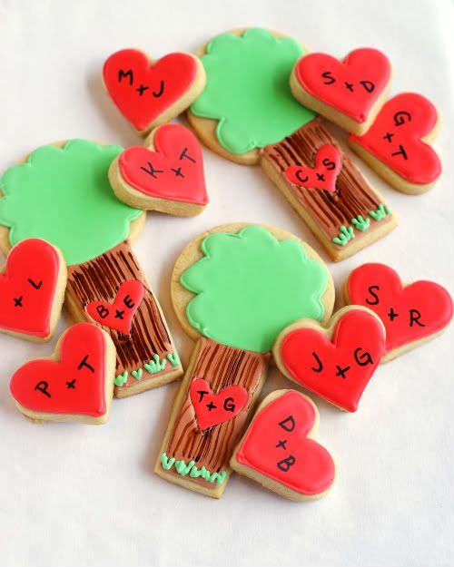 Trees and hearts: Valentines Day Cookies, Cookies Ideas, Sugar Cookies, Valentines Cookies, Heart Cookies, Cute Ideas, Trees Cookies, Wedding Cookies, Cute Cookies