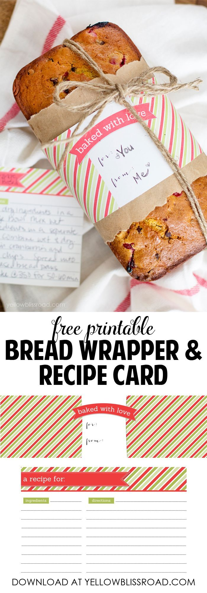 Gift wrapping ideas for home made baked goods - Christmas Printable Diy Gift Idea Quick Bread Recipesgift Wrapperhomemade