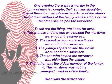 Murder Mystery Family//great brain teaser
