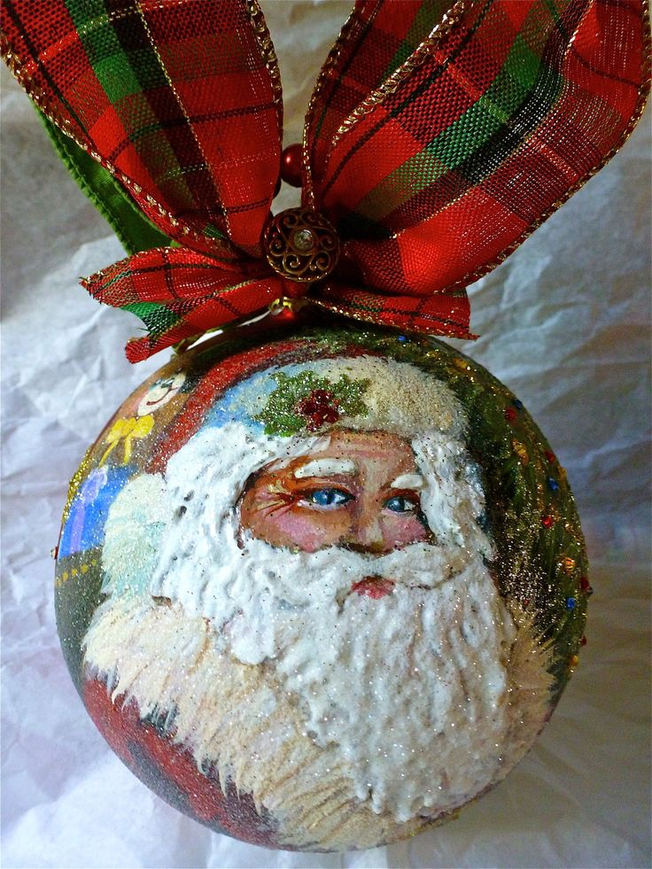 Santa Hand Painted Ornament Projects Hand Painted