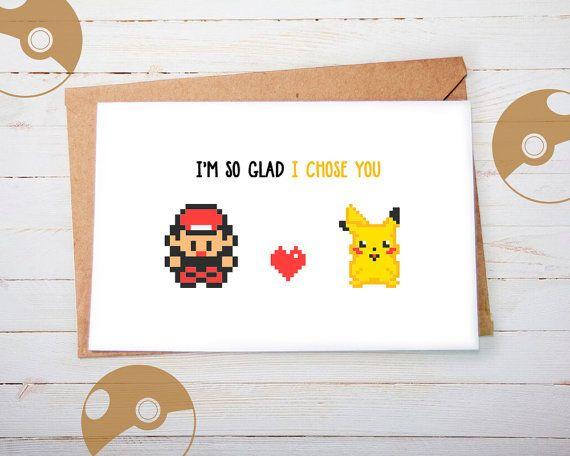 Süße Pokemon Grußkarte Pikachu Ash Valentinskarte von playerNo2