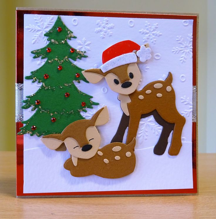 Christmas Card - Marianne Collectables Deer Die. To purchase my cards please visit CraftyCardStudio on Etsy.com.