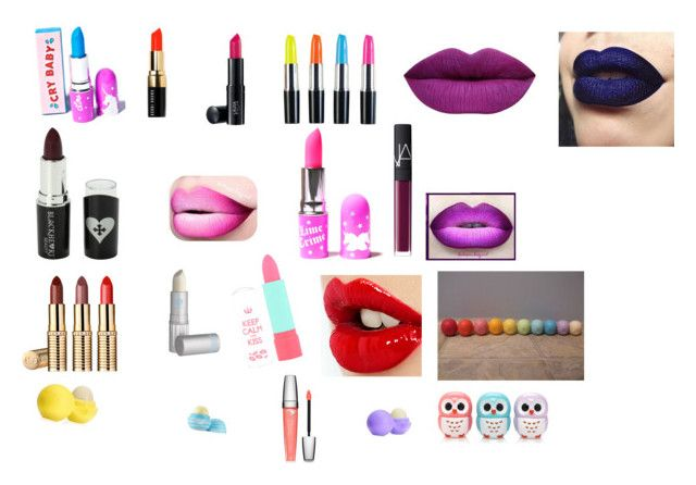 """""""Pucker up"""" by pugshugs on Polyvore featuring Lime Crime, Bobbi Brown Cosmetics, Laura Geller, Voom, Lipstick Queen, Rimmel, Charlotte Tilbury, Eos, Lancôme and Forever 21"""