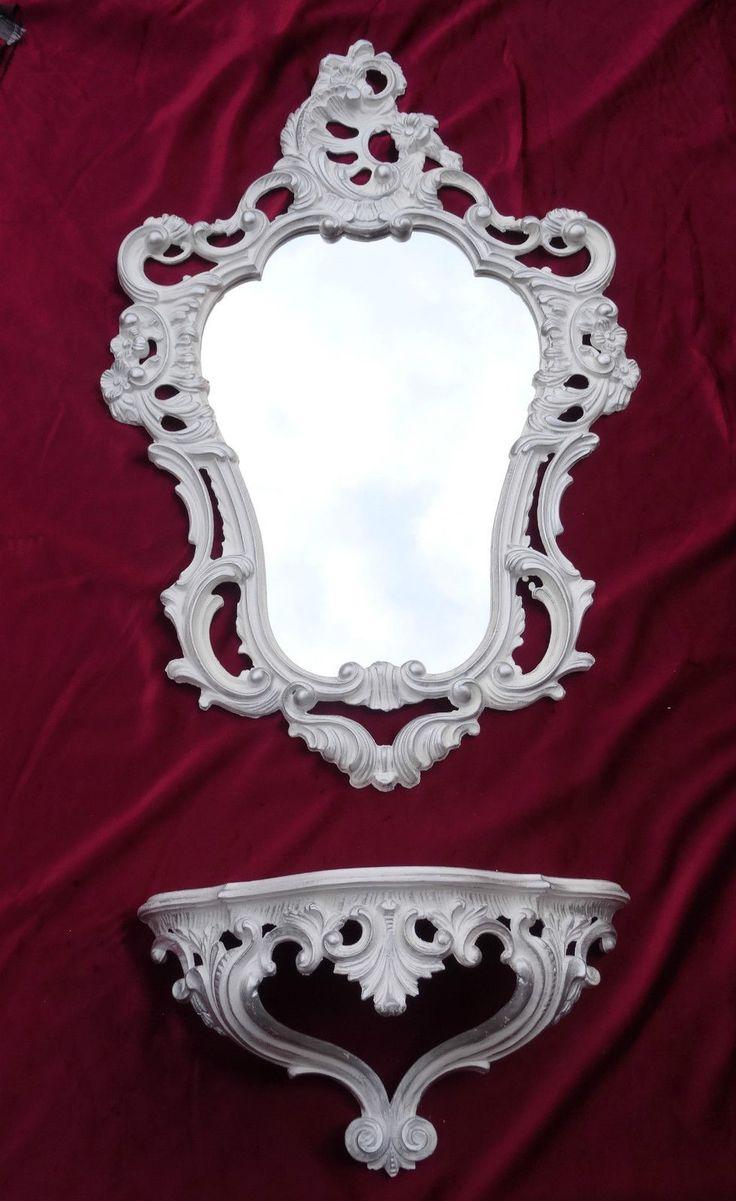Marvelous Details zu Wandspiegel Ablage Konsole SET Spiegel X ANTIK BAROCK Wei Silber S