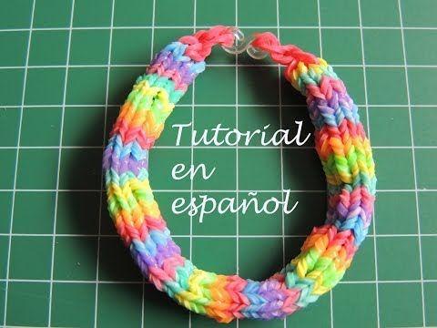 ▶ Tutorial Pulsera de gomitas Rainbow Loom en español 6 pins Hexafish. - YouTube