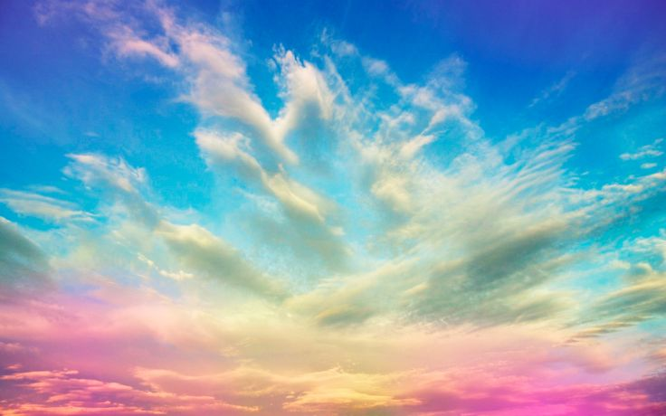 Incredible the blue sky and white clouds suffused with pink
