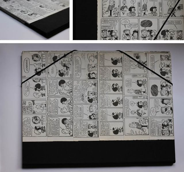 relligat: Carpeta forrada con hojas de comic de mafalda