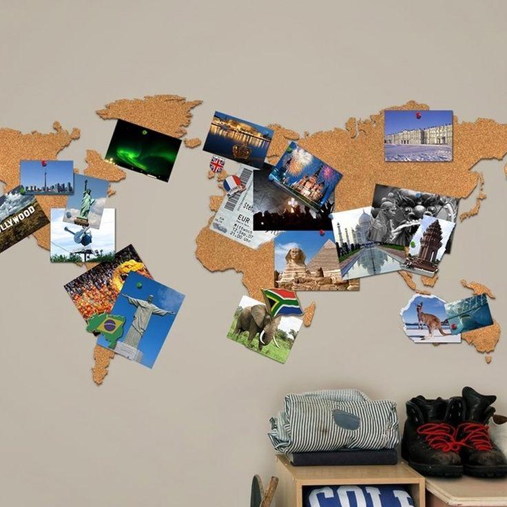 Luckies Wereldkaart - Prikbord