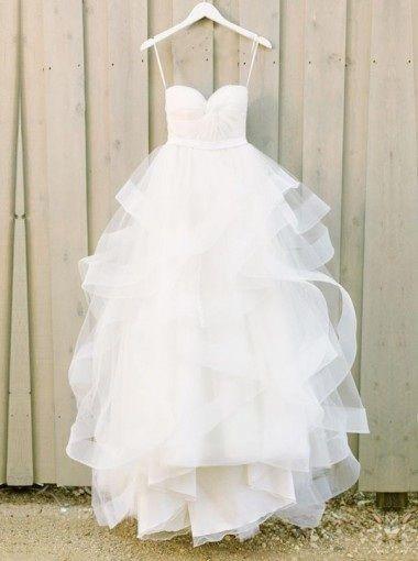 Modern Sweetheart Ruffles Wedding Dress,Tulle A-line Wedding Dress Bride Gowns,HF45