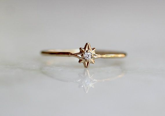 14k Diamond Star Ring North Star Ring Dainty Ring by LieselLove