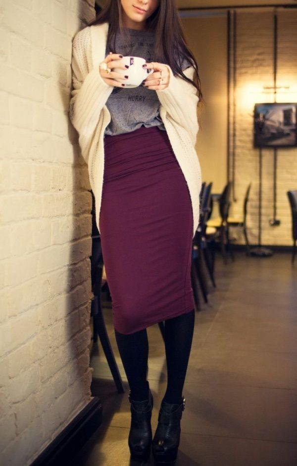Pencil skirt with loose Tshirt top and chunky cardigan. Not necessarily a fan of color combo.