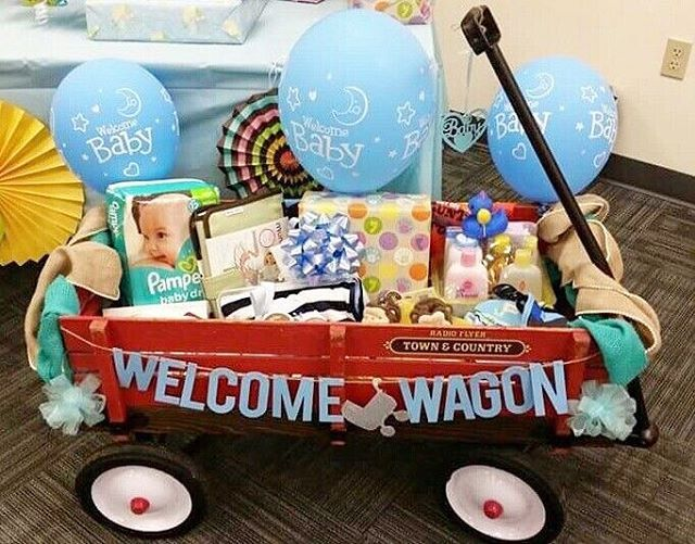 The welcome wagon! Fill with baby goods, books, diapers, wipes, toys etc.  #pinterest#diy#welcome#babies#baby#newborn#wagon#welcomewagon#parentstobe#momtobe#dadtobe#fathers#mothers#gifts#birthday#babyshower