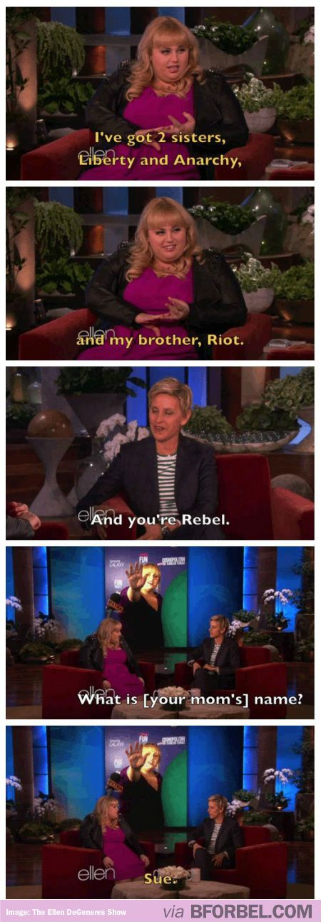 Ellen Knows A Little More About Rebel Wilson's Interesting Family… I love the names, they are very different. Could turn into a bit of a self fulfilling prophecy though