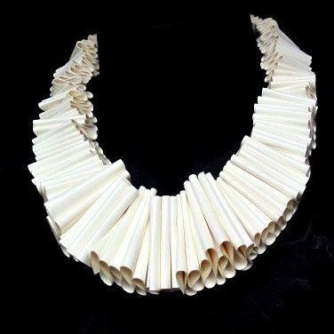 cream ruffle collar necklace, sculptural bib neckpiece,  PVC, statement jewelry, avant garde,  urban fashion