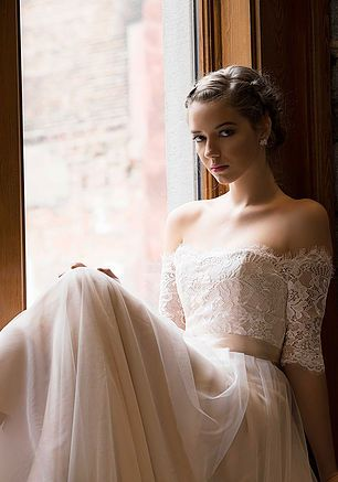Bridal Seperates - Audrey Bustier (in Blush silk duppioni) & Ashley skirt with Andrea topper (Chantilly lace) - Wedding separates-