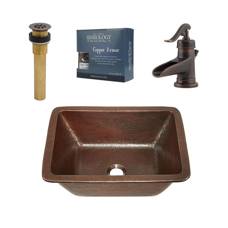 SINKOLOGY Pfister All-In-One Hawking 17 Bathroom Sink Design Kit in Aged Copper with Centerset Rustic Bronze Faucet
